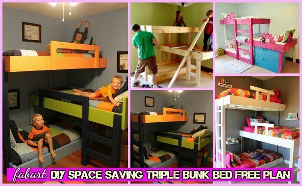 Diy space saving triple bunk bed free plan tutorial - Bunk bed for small spaces set ...