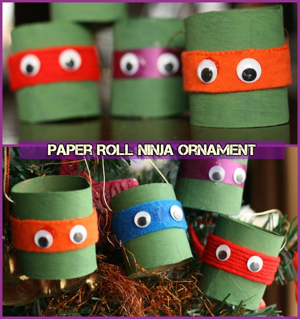 DIY TMNT Ninja Turtle Christmas Ornaments-Toilet Paper Roll Ninja Ornament Tutorial