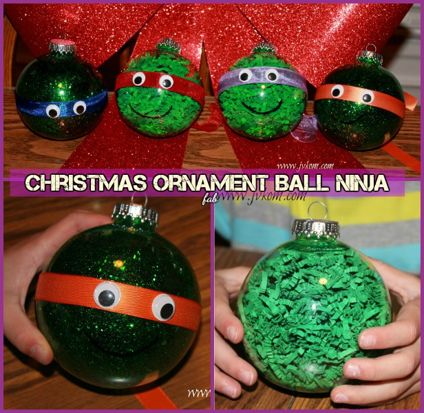 DIY TMNT Ninja Turtle Christmas Ornaments- Ribbon Glitter Ninja Ornament Tutorial