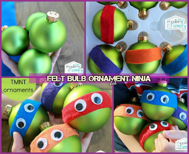 DIY TMNT Ninja Turtle Christmas Ornaments-Felt Bulb Ornament Ninja Tutorial