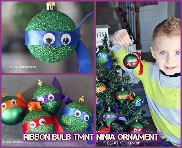 DIY TMNT Ninja Turtle Christmas Ornaments- Ribbon Ninja Ornament Tutorial