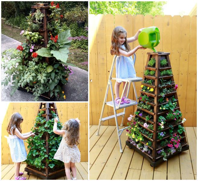 Earth Tower Vertical Garden Planter on Wheels