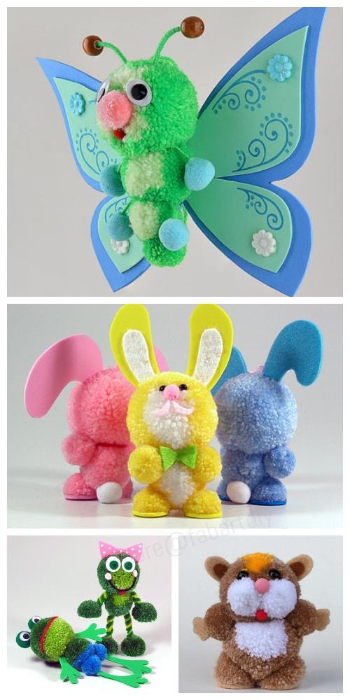 Fab Design on Yarn Pom Pom Animal Figures