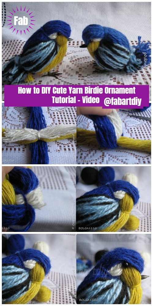 How to DIY Cute Yarn Birdie Ornament Tutorial - Video