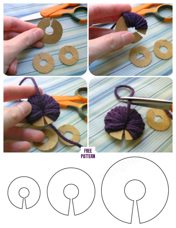 How to Make Your Pom Pom with Ring Cardboard template