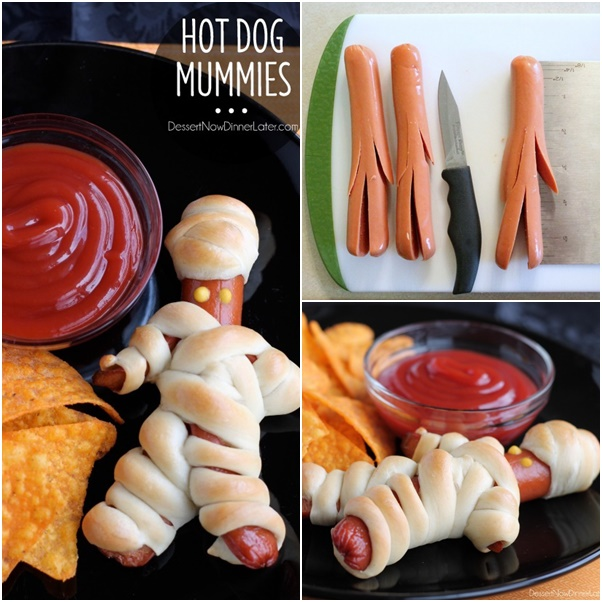 diy halloween hot dog mummies here is another cute way to make hot dog ...