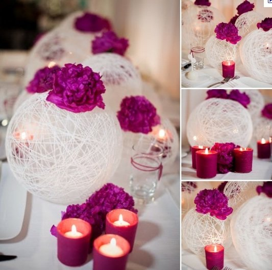 DIY Lighted Yarn Ball Wedding Centerpiece