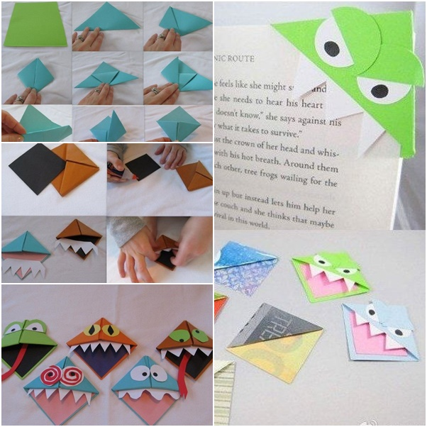 How to DIY Origami Monster Bookmarks - Fab Art DIY