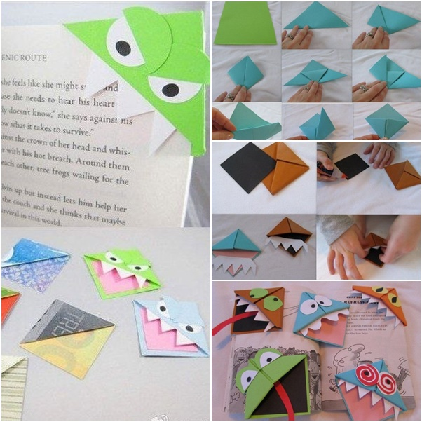 origami monster bookmark