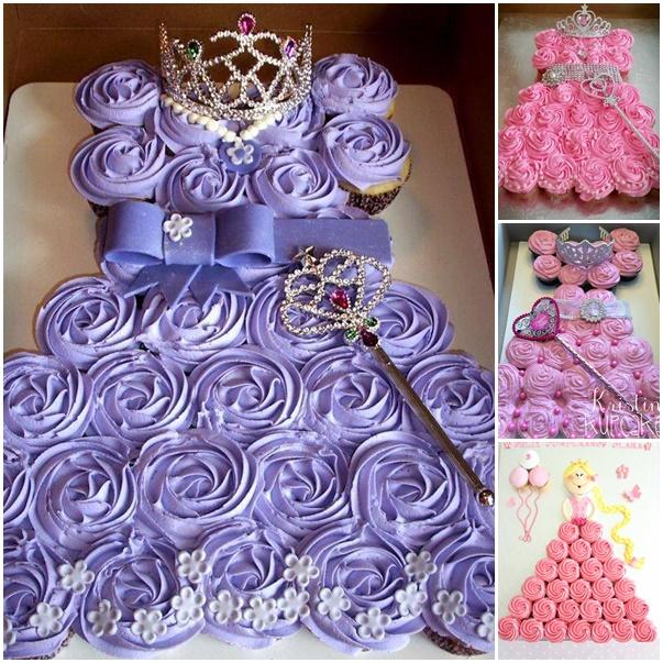 DIY Easy Pull Apart Princess Cupcake Cake