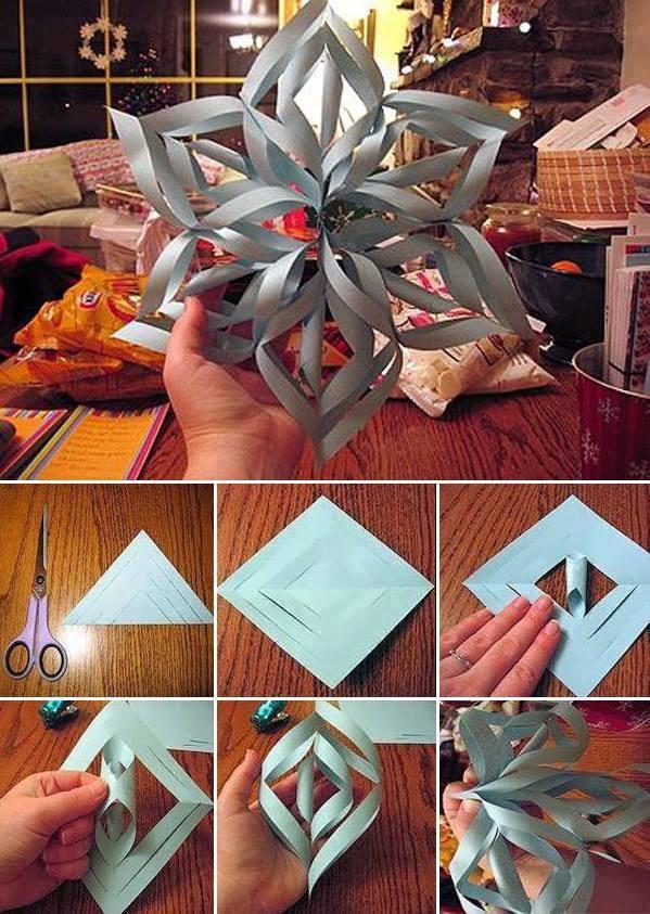 Modular 3d origami snowflake frozen easy star paper tutorial ... | 843x599