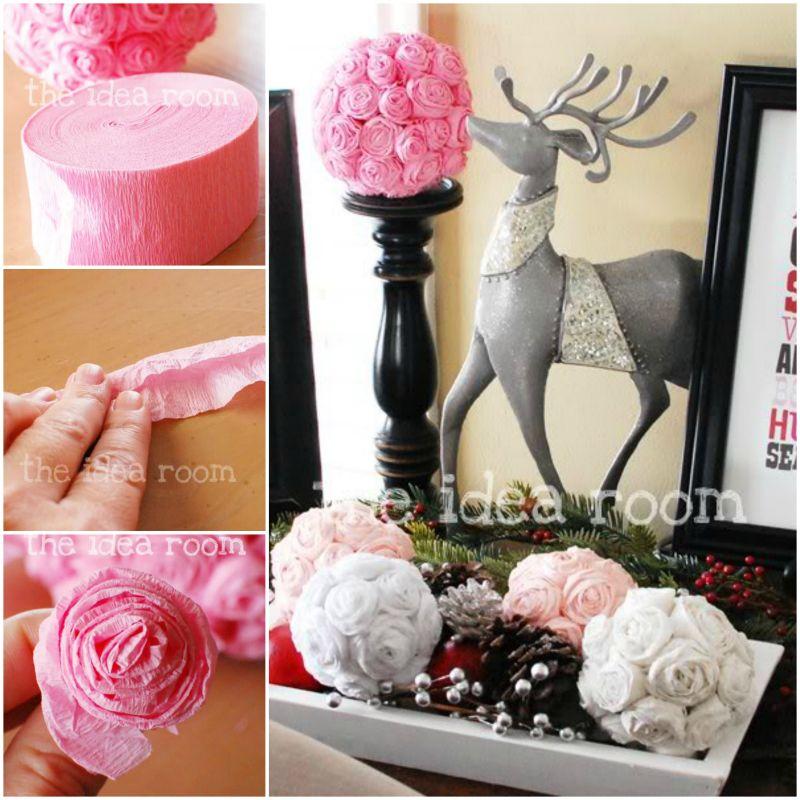 How to diy pretty tissue rosette flower kissing ball