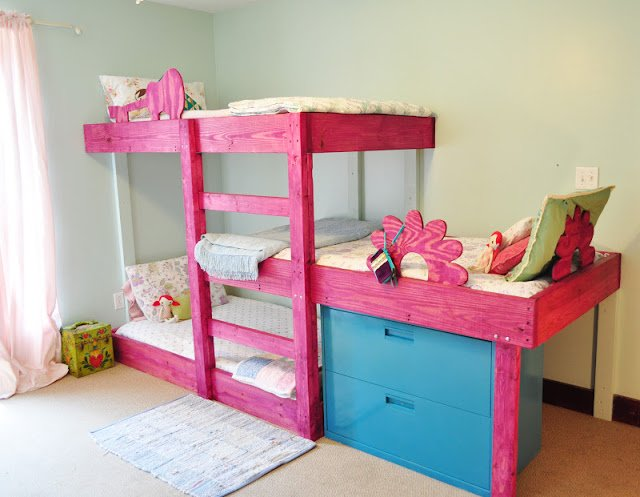 DIY Space Saving Triple Bunk Bed Free Plan