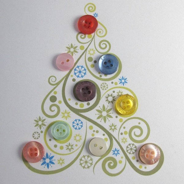 Kids Friendly Christmas Button Crafts Holiday Decorations DIY Ideas - button Christmas Tree Greeting Card