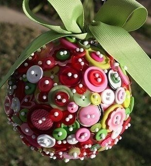 Christmas Button Crafts-Button ball Christmas ornament
