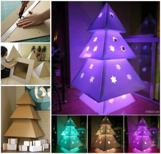 Lighted Cardboard Christmas Tree DIY Tutorial