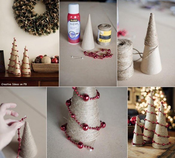 DIY Christmas tree from rope string and pearls