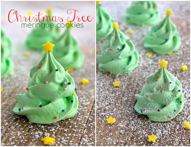diy christmas tree meringue cookie recipe - Christmas Tree Meringues
