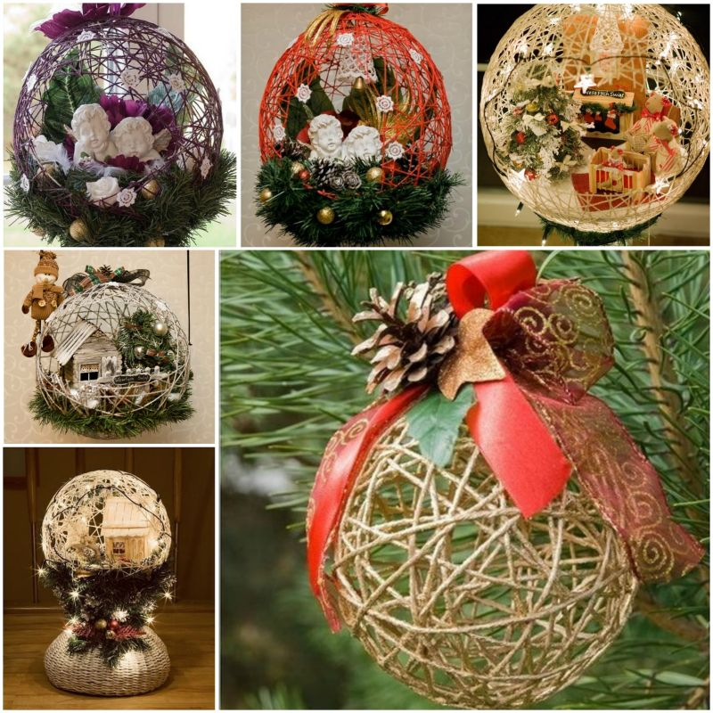 diy festive string ball basket