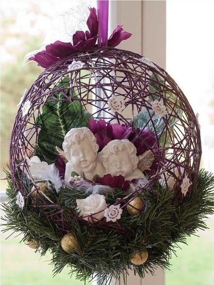 How to diy string balloon basket for christmas - String ornaments christmas ...