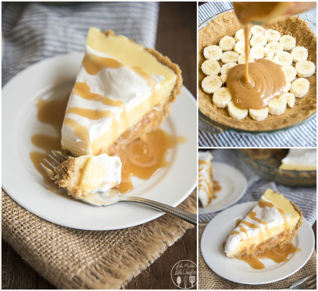 DIY No Bake Banana Caramel Cream Pie Dessert Recipe