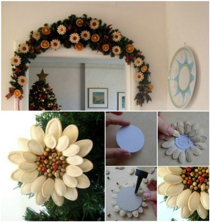 DIY Pumpkin Seed Flower Christmas Ornament