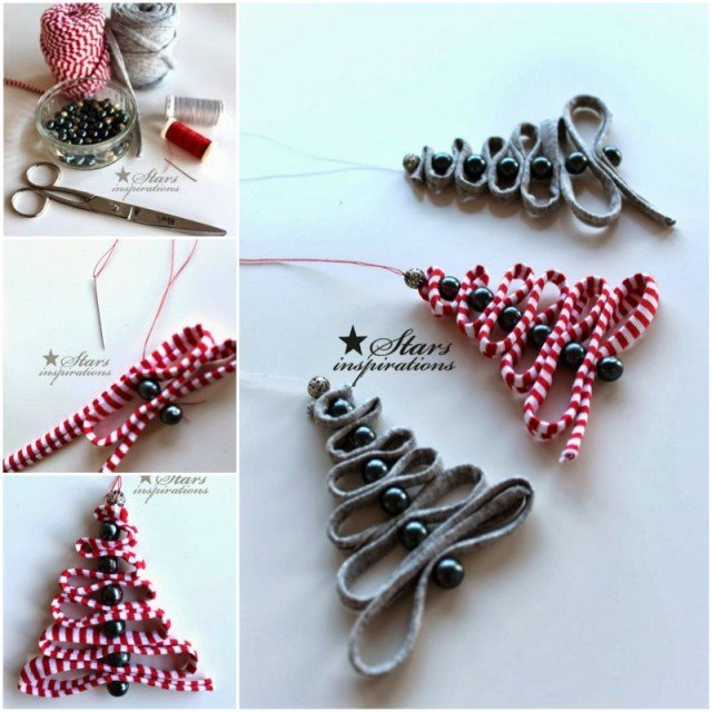 diy easy ribbon bead christmas tree ornament - Mini Christmas Decorations