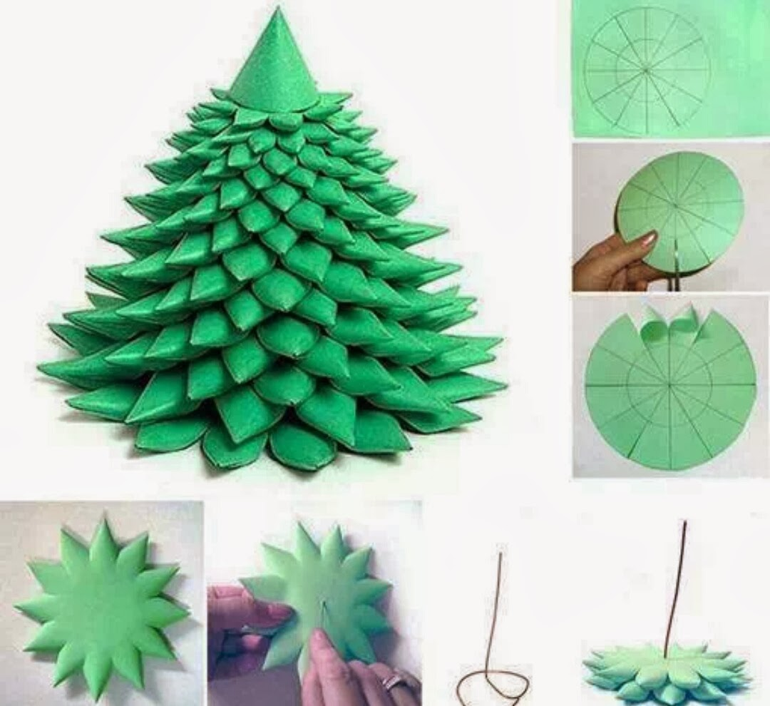 Diy layered paper christmas tree free template for Paper decorations diy