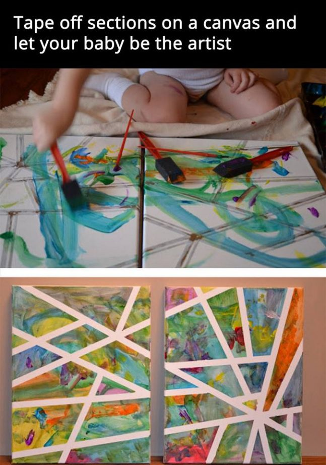 DIY Tape Painting on Canvas
