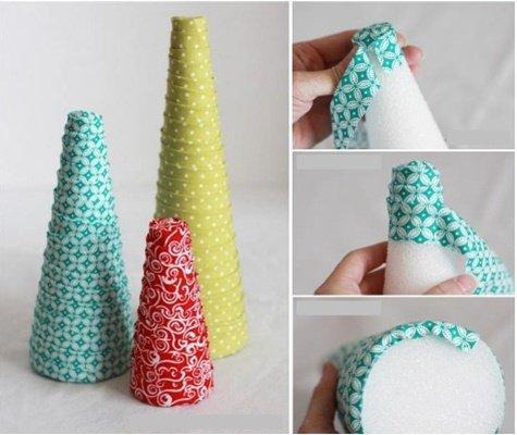 DIY Fabric Wrapped Christmas Tree