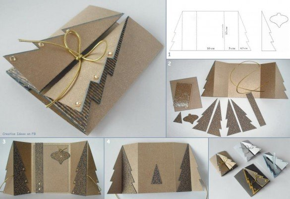 DIY Cardoard Christmas Tree Greeting Card
