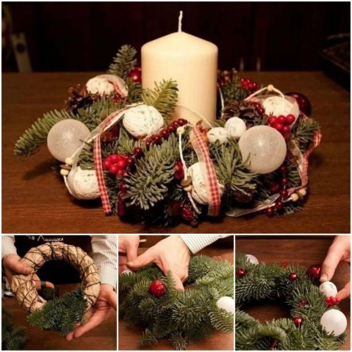 diy fresh pine leaf christmas wreath centerpiece