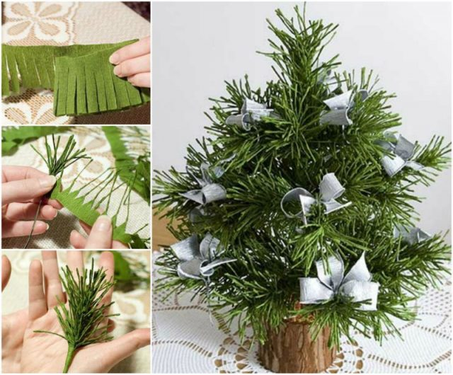 DIY Mini Crepe Paper Christmas Tree tutorial