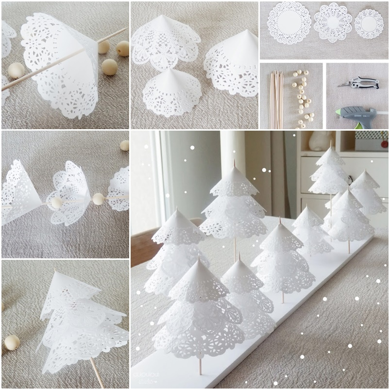How to DIY Paper Doily Christmas Tree thumb