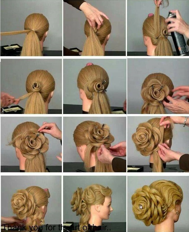 How to DIY Rose Flower Hairbun Updo Hairstyle