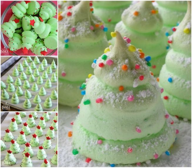 DIY Sweet Christmas Tree Meringue Cookies