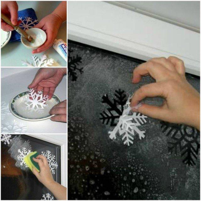 DIY Washable Snowflake Prints on Windows