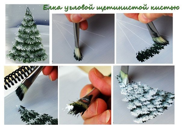 How to brush paint Christmas tree2