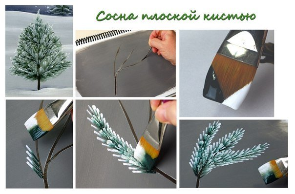 How to brush paint Christmas tree4