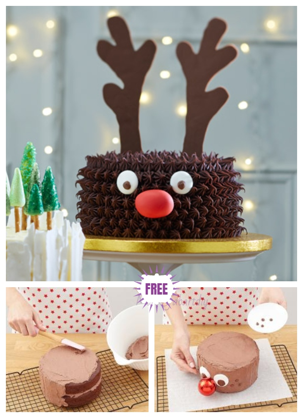 3D Chocolate Rudolph Reindeer Cake Design DIY Tutorial for Christmas