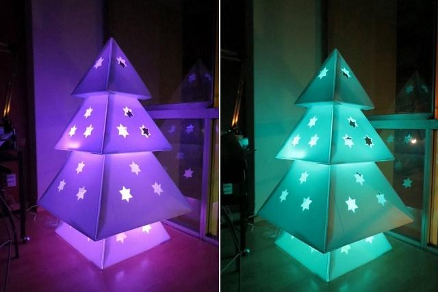 Simple Lighted Cardboard Christmas Tree DIY Tutorial