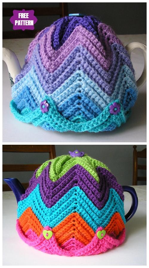 DIY Crochet Tea Cozy Free Crochet Patterns - Easy Ripple Tea CosyFree Crochet Pattern