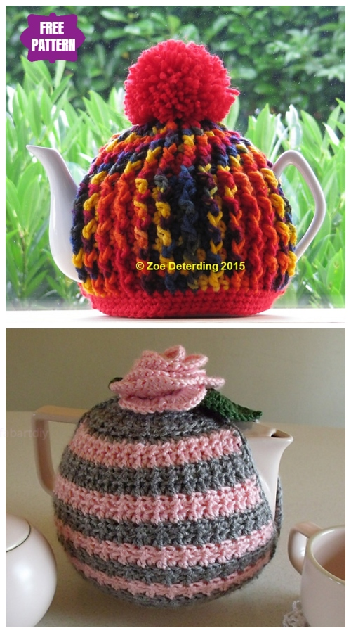 DIY Crochet Tea Cozy Free Crochet Patterns - Ribbed Teapot CozyFree Crochet Pattern
