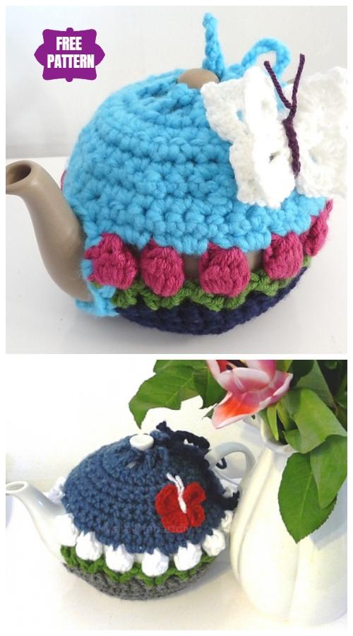 DIY Crochet Tea Cozy Free Crochet Patterns -Tulip Flower Teapot CozyFree Crochet Pattern