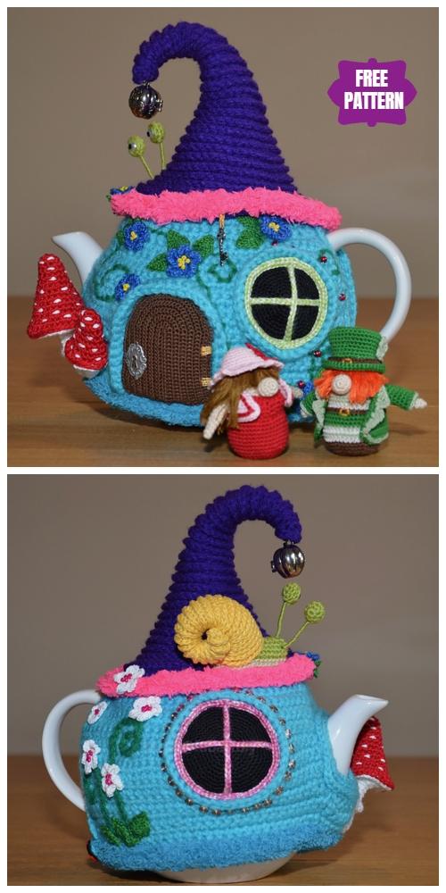 DIY Crochet Tea Cozy Free Crochet Patterns - Tea Cozy Fairy Tale House Free Crochet Patterns