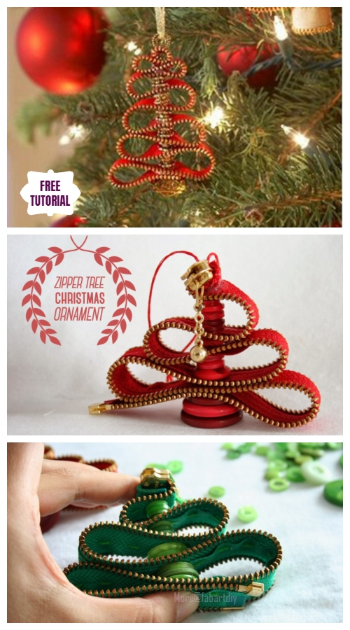 DIY Easy Zipper Tree Christmas Tree Ornament Tutorial