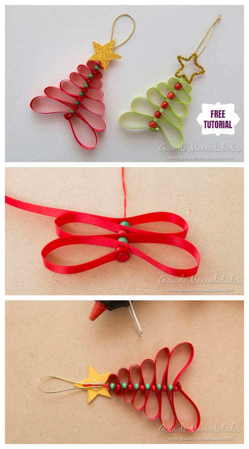 DIY Easy Ribbon Bead Christmas Tree Ornament Tutorial