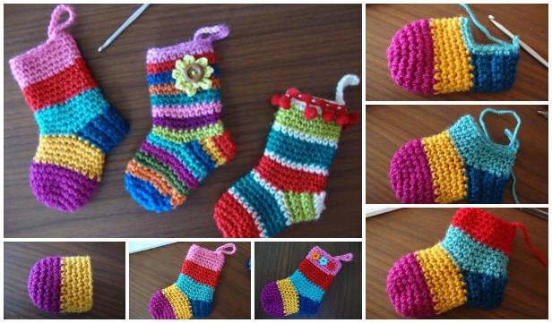 DIY Festive Crochet Christmas Socks Free Crochet Pattern