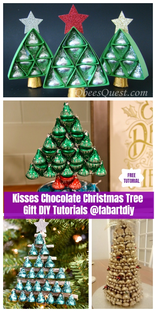 DIY Hershey Kisses Chocolate Christmas Tree Gifts - Easy Tutorials