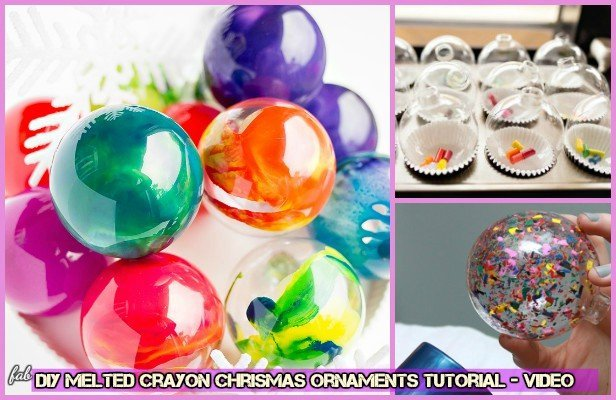 DIY Melted Crayon Chrismas Ornaments Tutorial-Video